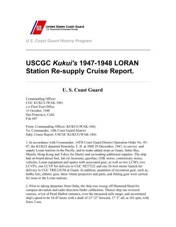USCGC Kukui's 1947-1948 LORAN Station Re ... - U.S. Coast Guard