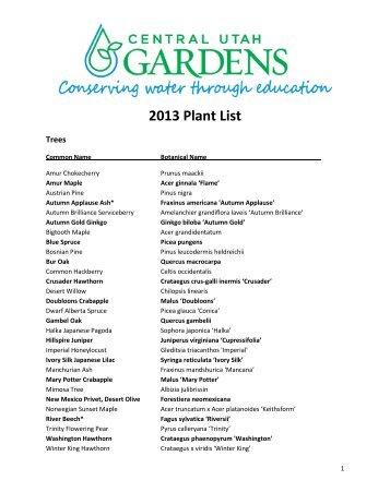 2013 Plant List - Central Utah Gardens