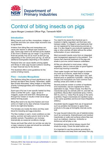 Control of biting insects on pigs - NSW Department of Primary ...