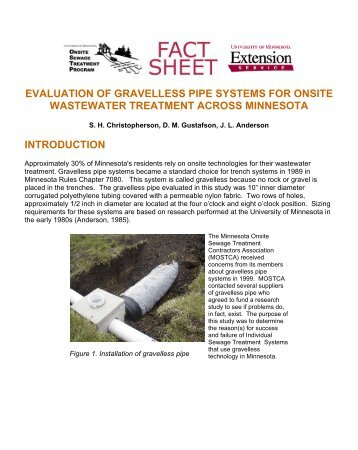 evaluation of gravelless pipe systems for onsite wastewater
