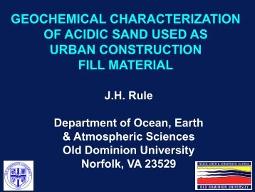 Acid Fill Sand and Storm Drain Corrosion - Old Dominion University