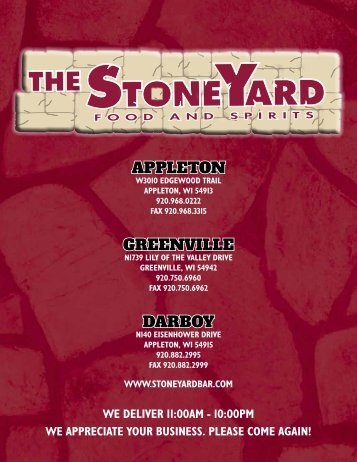 Appleton greenville dArboy - StoneYard Food & Spirits