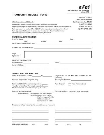 Transcript Request Form Application Deadline Date