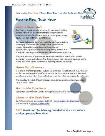 Rush Hour Rules .PDF - Marbles: The Brain Store