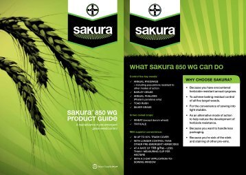 SAKURA® 850 WG pRODUCT GUiDe - Bayer CropScience