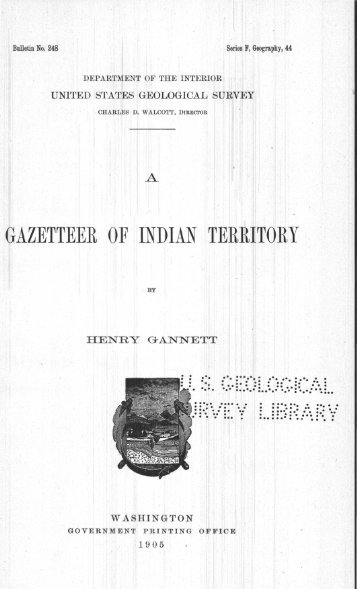 GAZETTEE~R OF . INDIAN TERRITORY