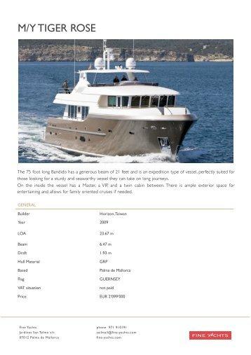 M:Y TIGER ROSE Bandido 75 Exposee - Fine Yachts