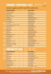 SPECIALITY OILS ORGANIC VEGETABLE OILS - Earthoil