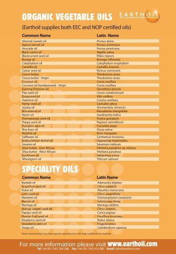 SPECIALITY OILS ORGANIC VEGETABLE OILS - Earthoil