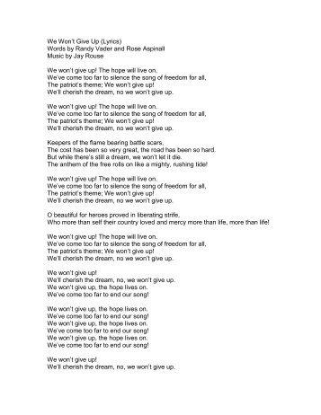 We Won't Give Up (Lyrics) Words by Randy Vader ... - PraiseGathering