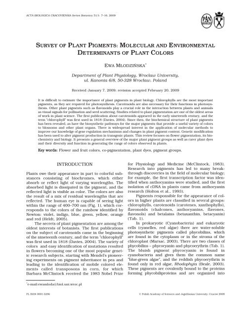 survey of plant pigments: molecular and environmental determinants