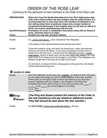 ORDER OF THE ROSE LEAF - West Kingdom College of Heralds ...