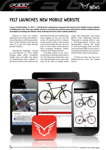 news felt launches new mobile website - Sport Import GmbH