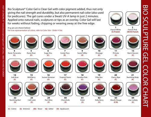 BIO SCULPTURE GEL COLOR CHART
