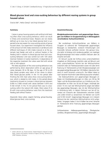 Blood glucose level and cross-sucking behaviour by different ... - vTI