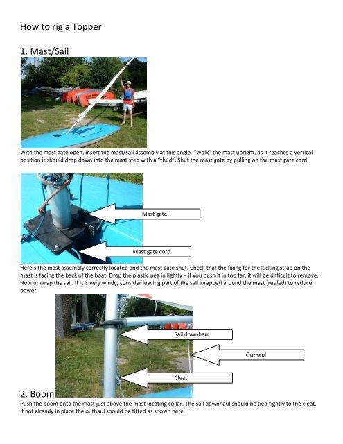 How to rig a Topper 1  Mast/Sail 2  Boom - Kingsmead Sailing Club