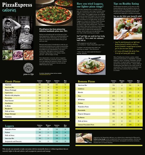 Calories And Nutrition Pizza Express
