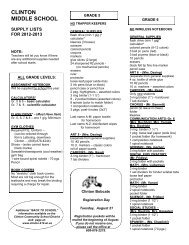 Middle School Supply List - Clinton Community School District