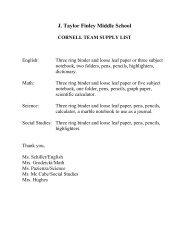 J. Taylor Finley Middle School ESL Supply List