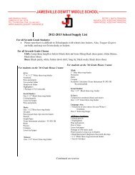 Grade 7 Supply List for Fall 2012 - Jamesville-DeWitt Central School ...