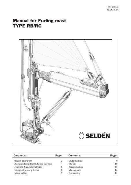 Manual for Furling mast TYPE RB/RC - Seldén Mast