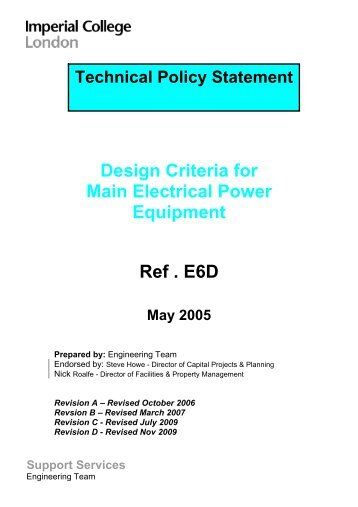 Design Criteria for Main Electrical Power Equipment - Imperial ...
