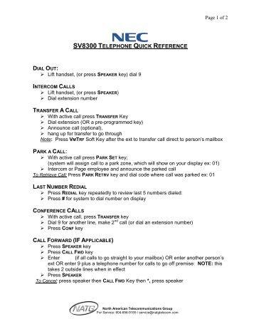 Sv8300 nec programming Manual
