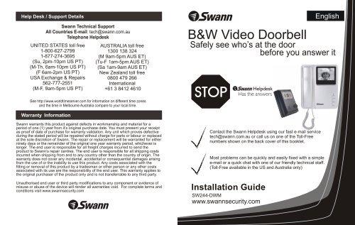 DIY - Wallmount Doorbell Video Intercom - Swann Communications