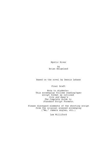 Mystic River Screenplay (Cole and Haag).fdr Title Page - Lex Williford