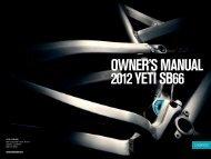 OWNER'S MANUAL 2012 YETI SB66 - Yeti Cycles