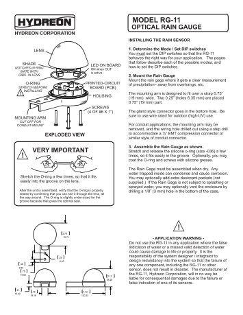 RG-11 instructions - Hydreon Optical Rain Gauge / Rain Sensor RG ...