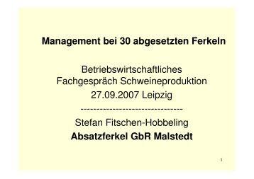 Management bei 30 abgesetzten Ferkeln