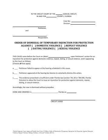 Florida dating restraining order