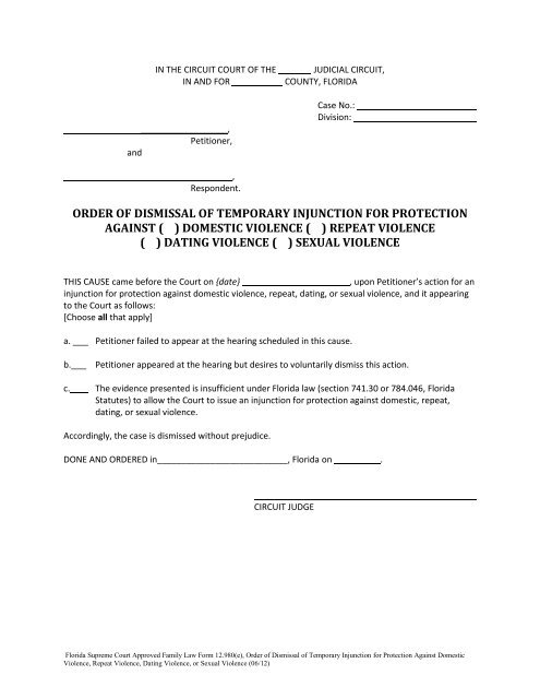 Order of Dismissal of Temporary Injunction for Protection