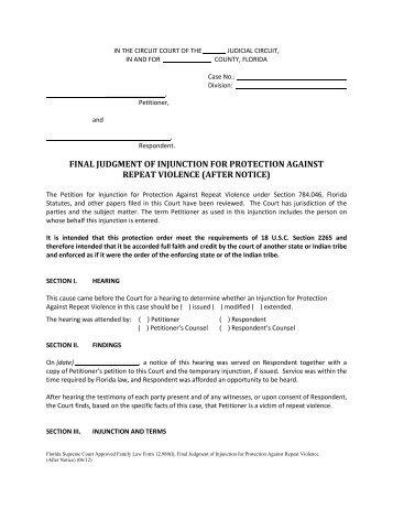 Florida injunction against dating violence