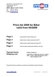 Price list 2009 for Biker valid from 04/2009 Page 2 - Pitlock