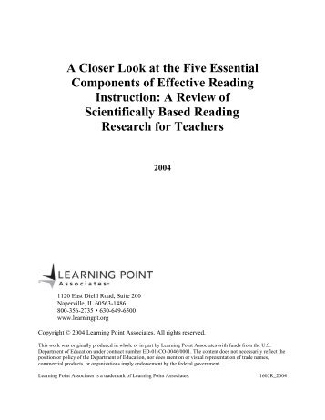 A Closer Look at the Five Essential Components - Learning Point ...