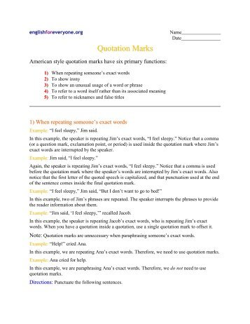 Quotation Marks Worksheet - English for Everyone