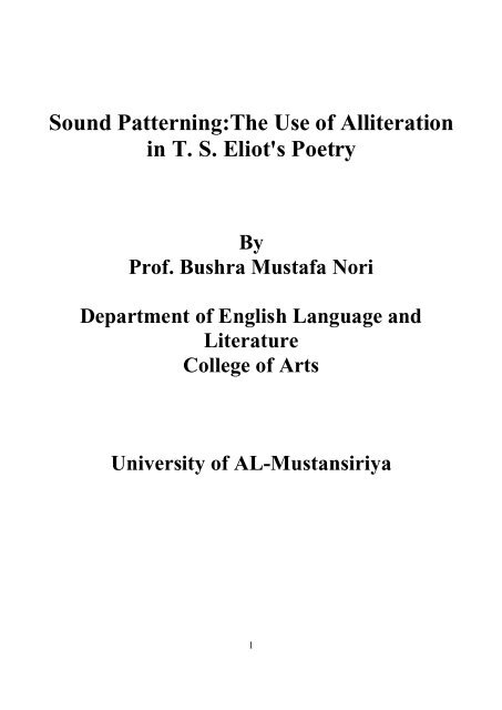 Sound Patterningthe Use Of Alliteration In T S Eliots