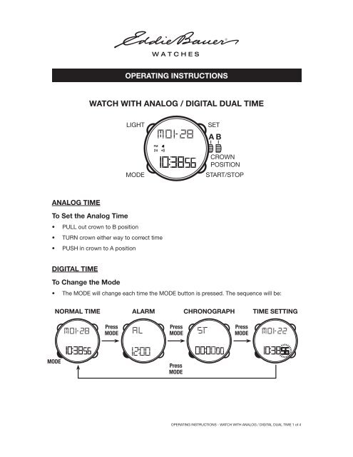 Operating Instructions – Watch with Analog / Digital Dual Time