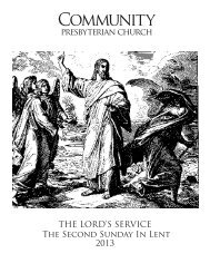 the lord's service - Community Presbyterian Church