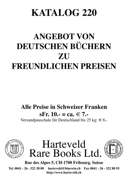 Katalog 221 Harteveld Rare Books Ltd