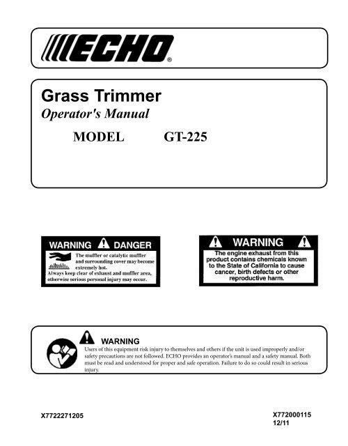 Grass Trimmer – Operator's Manual MODEL GT-225 - Echo Inc