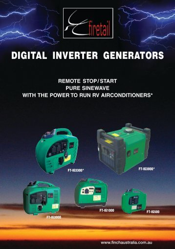 DIGITAL INVERTER GENERATORS - Finch Australia