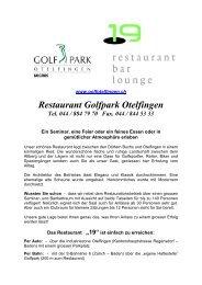 Bankett Menuvorschläge - Golfpark Otelfingen