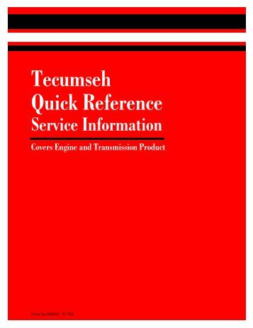 Tecumseh Quick Reference Service Information
