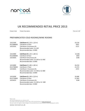 UK RECOMMENDED RETAIL PRICE 2013 - Norcool