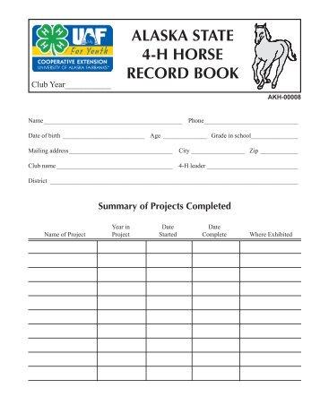 alaska state 4-h horse record book - University of Alaska Fairbanks