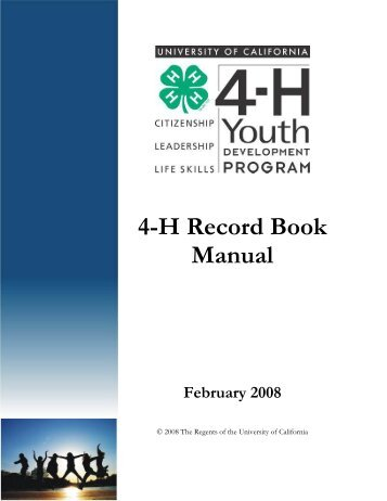 4-H Record Book Manual - UC Agriculture and Natural Resources