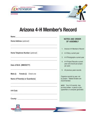 Arizona 4-H Member's Record (complete book, fillable - University of ...